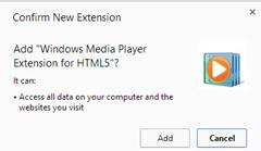 ستظهر لك نافذة تأكيد تنصيب الإضافة على متصفح الجوجل كروم أضغط add