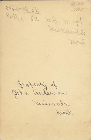 Cabinet Card MB Magt Walkerville Mont Property of John Anderson Missoula Mont DL Antiques back