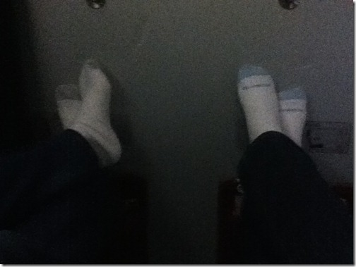socked feet