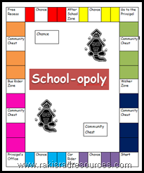 Create your own copy of School-opoly for your class with this free printable board.