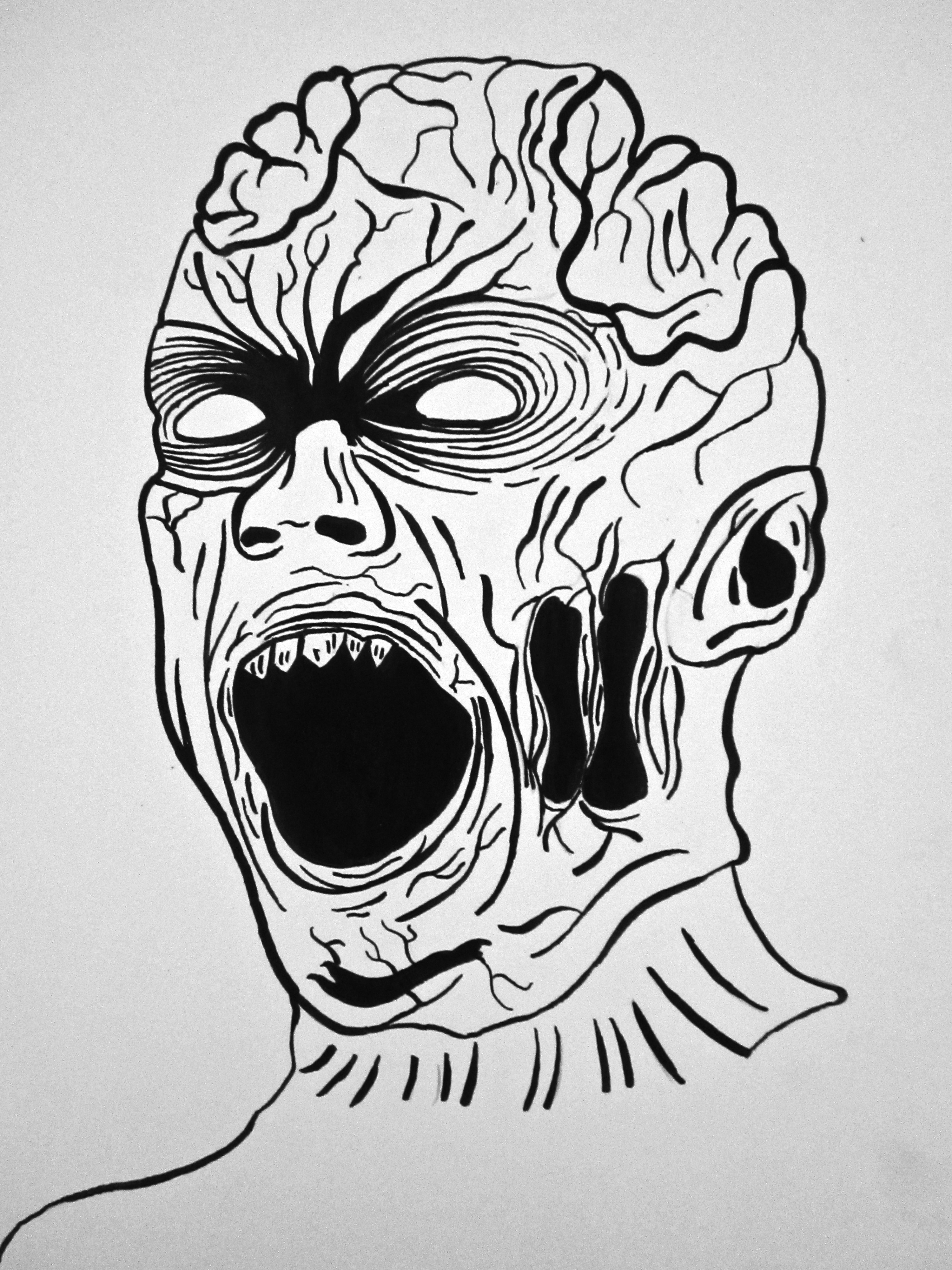 Zombie Face Outline