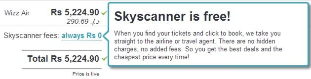 Skyscanner is free