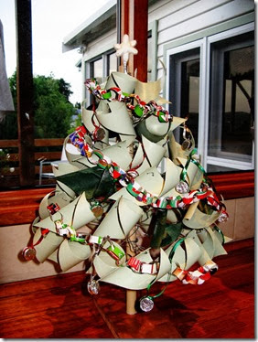 decorated recycled christmas tree