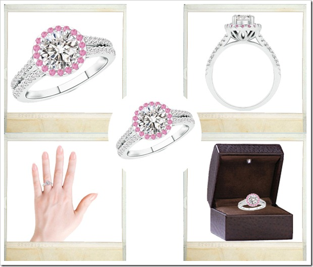 Round Diamond and Pink Sapphire Split Shank Ring