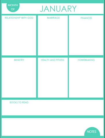 Monthly Goals Printable