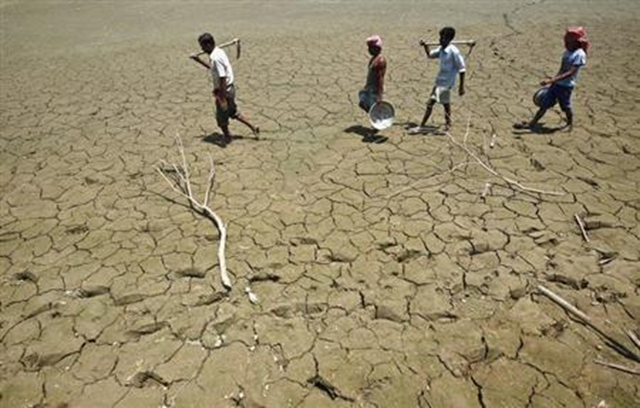 Labourers walk through a parched land of a dried lake on the outskirts of Agartala, capital of Tripura, 23 April 2013. Photo: Jayanta Dey / REUTERS