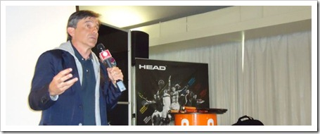 Javier Sánchez Vicario, que comentó diferentes aspectos vinculados con la construcción de pistas de tenis gracias a su experiencia en la empresa Greenset