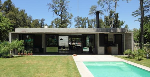 piscina moderna casa de hormigon