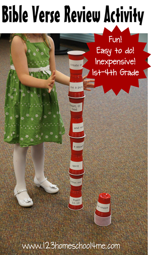 Tower Stack: Bible Verse Review Activity #kids #homeschool #sundayschool
