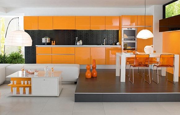 Modernas cocinas de color naranja