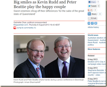 Big smiles as Kevin Rudd and Peter Beattie play the happy couple - World news - theguardian.com