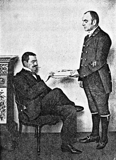 Illustration from: Heinrich XXVIII. Prinz Reuß zu Köstritz: Der korrekte Diener. Handbuch für Herrschaften und deren Diener, Paul Parey Verla