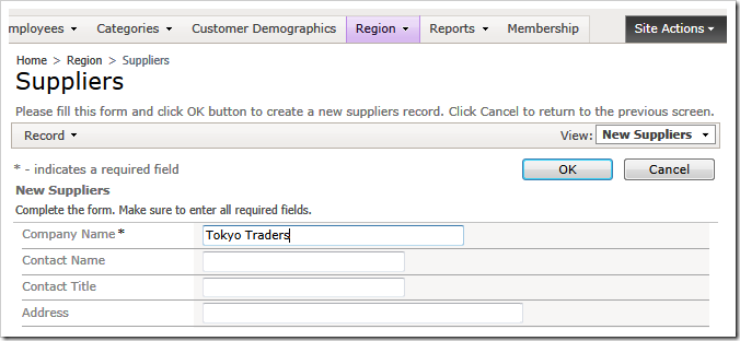 Entering  a new supplier record in the Northwind sample app