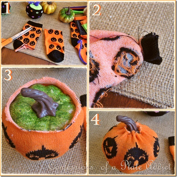 Halloween Sock Pumpkin Instructions