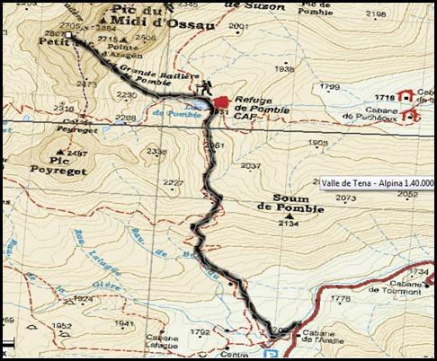 Corredor de La Fourche 350m AD  50º y Petit Pic 150m IV 60º (Midi d'Ossau, Portalet) Mapa