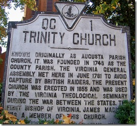 Trinity Church marker QC-1 in Staunton, VA - Augusta County.