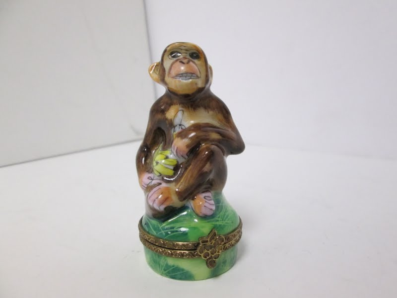 Limoges Monkey Trinket Box