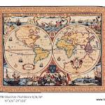 """Gobelin zaprojektowany na podstawie """"Nova totius Terrarum Orbis geographica ac hydrographica tabula"""" – pierwszej opublikowanej w atlasie mapy, stworzonej przez Hendrika Hondius w 1630r."""