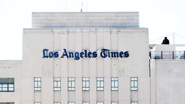 The Los Angeles Times Building and 2nd and Spring streets downtown. Photo: Getty Images