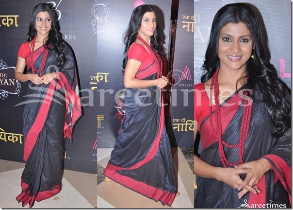 Konkana_Sen_Black_Sari