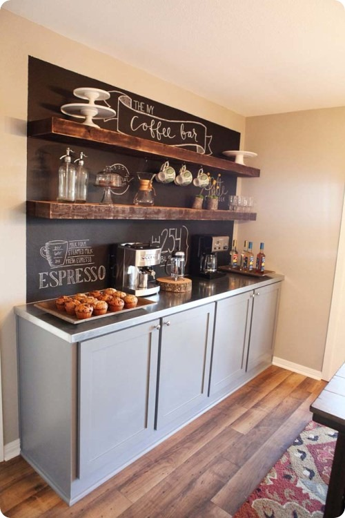 chalkboard wall wood shelves