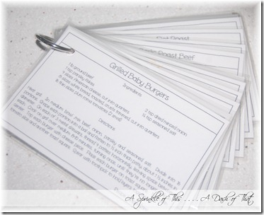 Recipe Cards on a Ring {A Sprinkle of This . . . . A Dash of That}