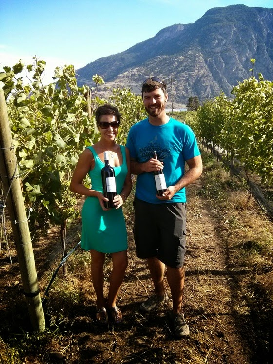Jesce & Charlie amongst the vineyard rows at Clos du Soleil