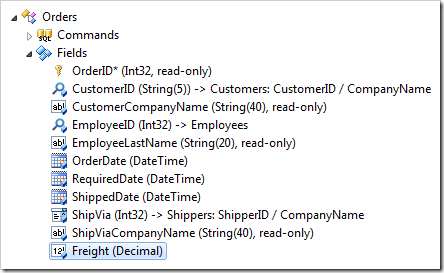Freight field node selected in Orders controller of the Project Explorer.