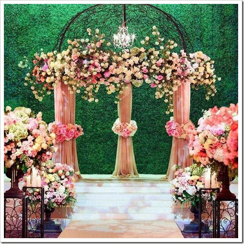 Pink florals aisle style