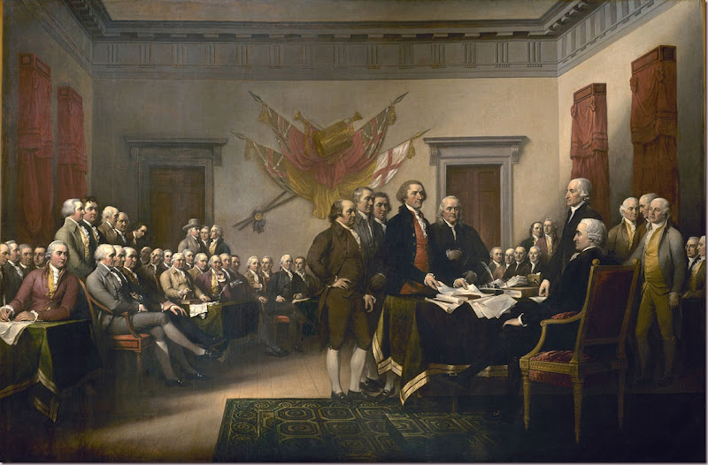 The Declaration of Independence  Committee of Five presenting their work to the Congress on June 28, 1776. Painting by John Trumbull