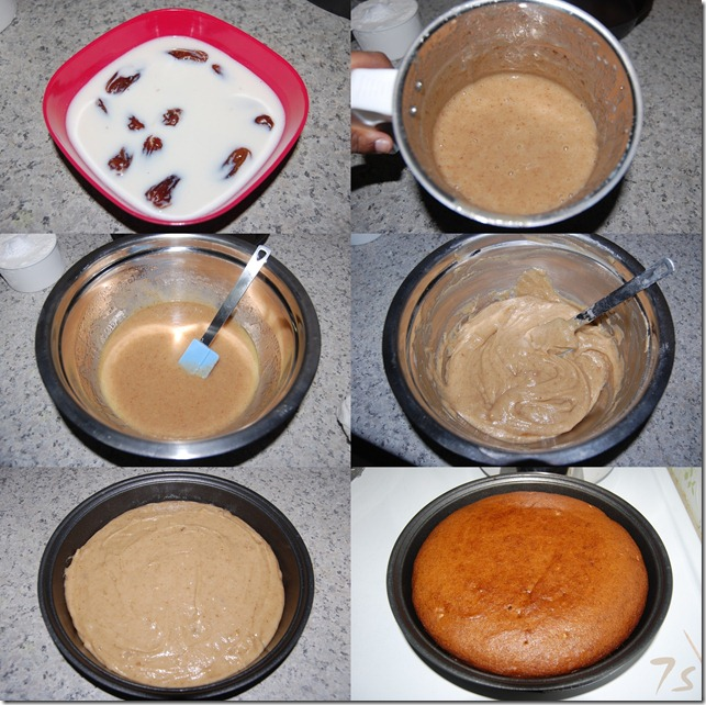 Eggless dates and walnut cake process