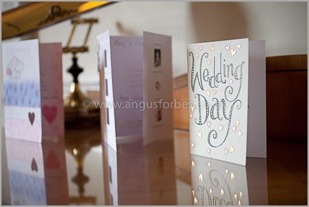 wedding cards in venue in edinburgh, scotland