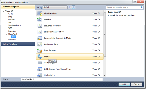 Add New Item SharePoint 2010