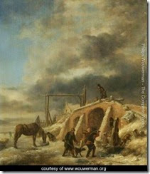 A-Winter-Landscape,-With-Figures-By-A-Bridge-Over-A-Frozen-Stream
