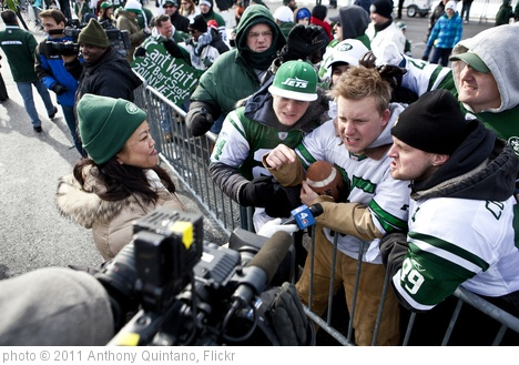 'Katherine Creag covering the New York Jets Pep Rally at Florham Park NJ for NBC New York' photo (c) 2011, Anthony Quintano - license: http://creativecommons.org/licenses/by/2.0/