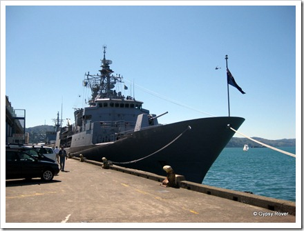 HMNZS Te Mana at the Overseas terminal for the Navy's 70th anniversary.