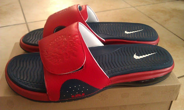 Nike Air LeBron Slide 487332461 Obsidian  Red  White 8220USAB8221
