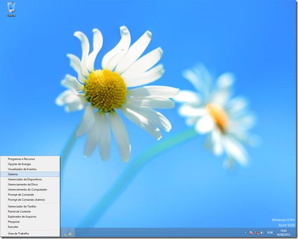Clique com o botão direito no canto inferior esquerdo da tela, depois clique em Sistema