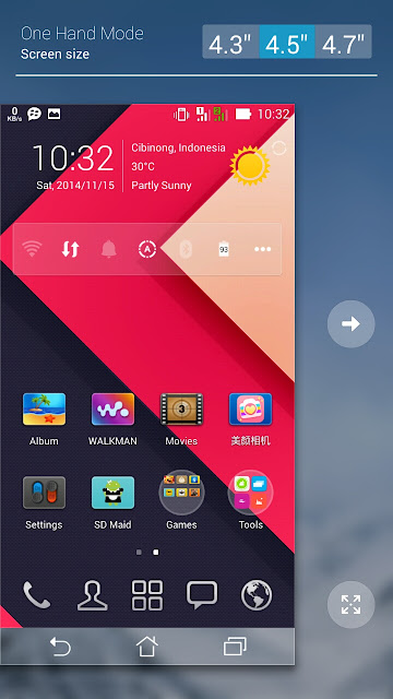 One Hand Mode Asus Zenfone 5