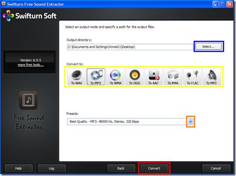 Swifturn Free Sound Extractor scelta formato e avvio conversione