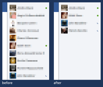 Hide offline Facebook friends from Chat