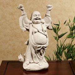 tall laughing Buddha table statue