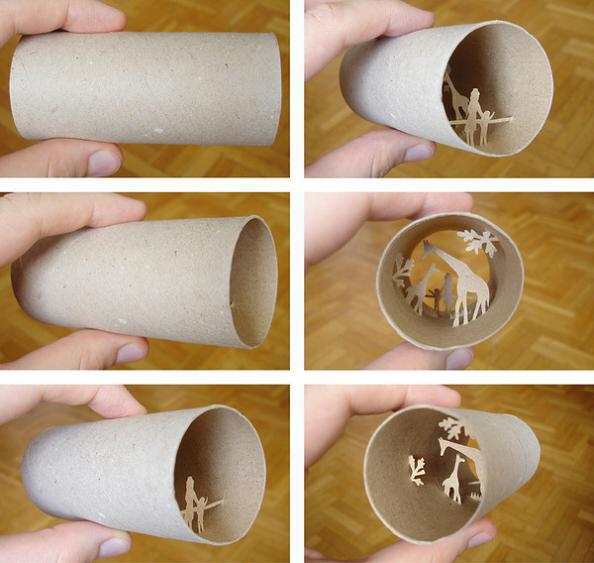 Fantastic scenes inside empty toilet paper rolls by Anastassia Elias