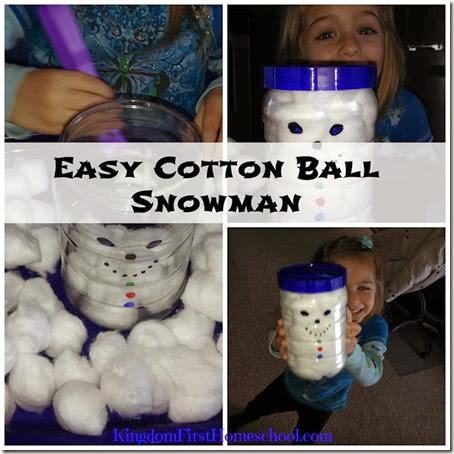 Easy Cotton Ball Snowman KingdomFirstHomeschool.com