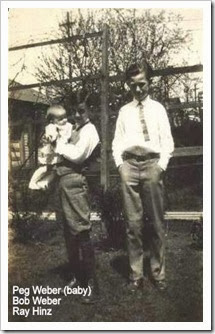 1924, Ray on the right, with two Weber cousins, Bob and Peg.