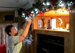 Barb Hangs Christmas Lights - where's the eggnog?