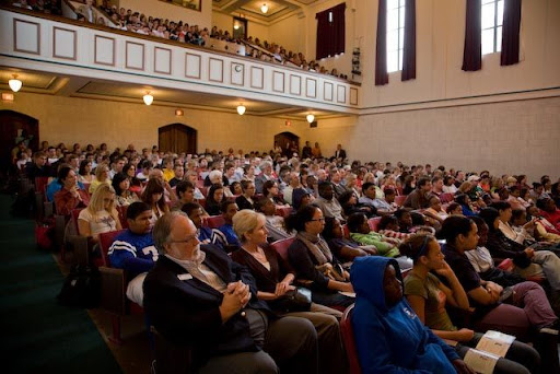 A full house welcomed Lucas at Drury's Clara Thompson Hall Thursday. (Photo courtesy of Drury University)