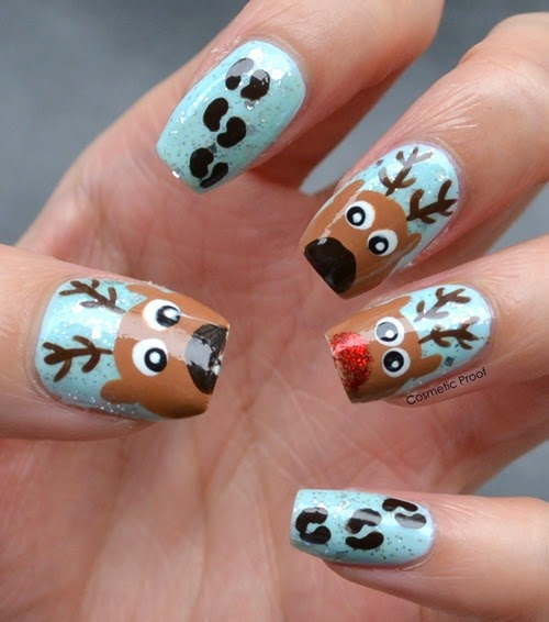 Nail art rudolph the red nosed reindeer cosmetic proof reindeer nails 3 prinsesfo Choice Image