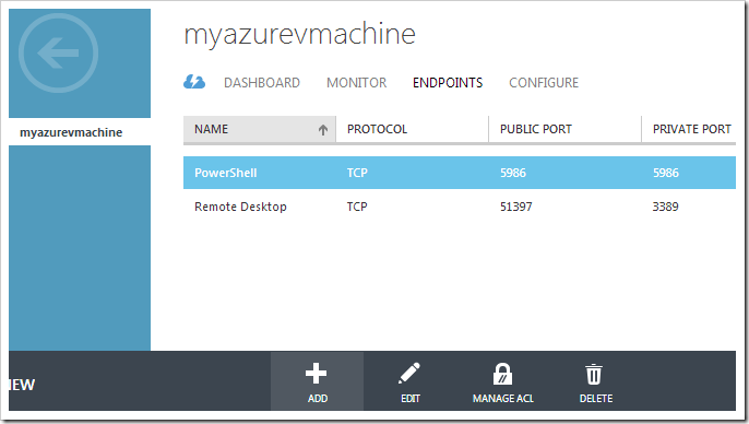 Adding a new endpoint to the virtual machine.
