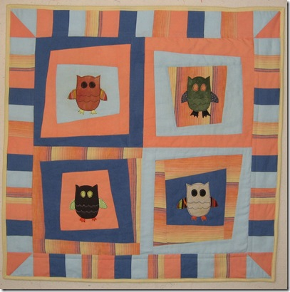 quilted owl scrap quilt
